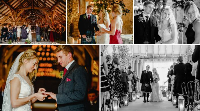 wedding ceremony at the tithe barn at bolton abbey, cripps