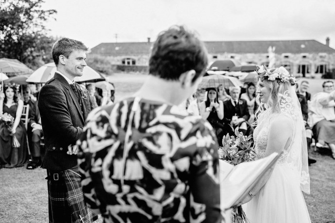 black and white photo at the wedding at kilrie granary in fife