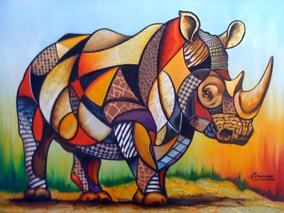 cubist rhino the artwork