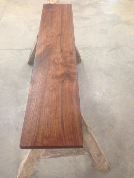 The upper desk top with a fresh coat of poly