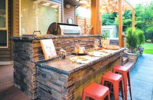 outdoor kitchen bar cabinets organizer spectacular kitchens and bars for entertaining stevenson this living space comes complete with a cook station bluestone hardscaping custom wood structures pergolas arbour