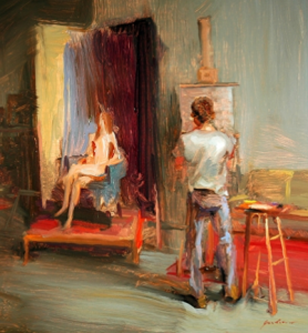 Artist painting a model