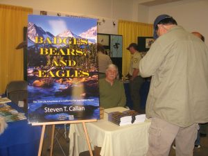 Author Steven T. Callan signs copies of his book Badges, Bears, and Eagles--The True-Life Adventures of a California Fish and Game Warden, at the 2013 NorCal Boat, Sport and RV Show.