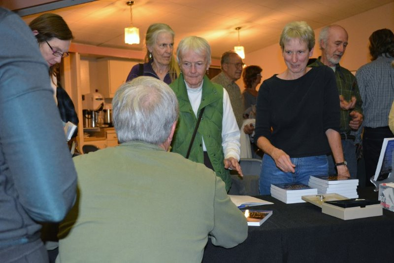 Author Steven T. Callan signing books for Wintu Audubon Society members
