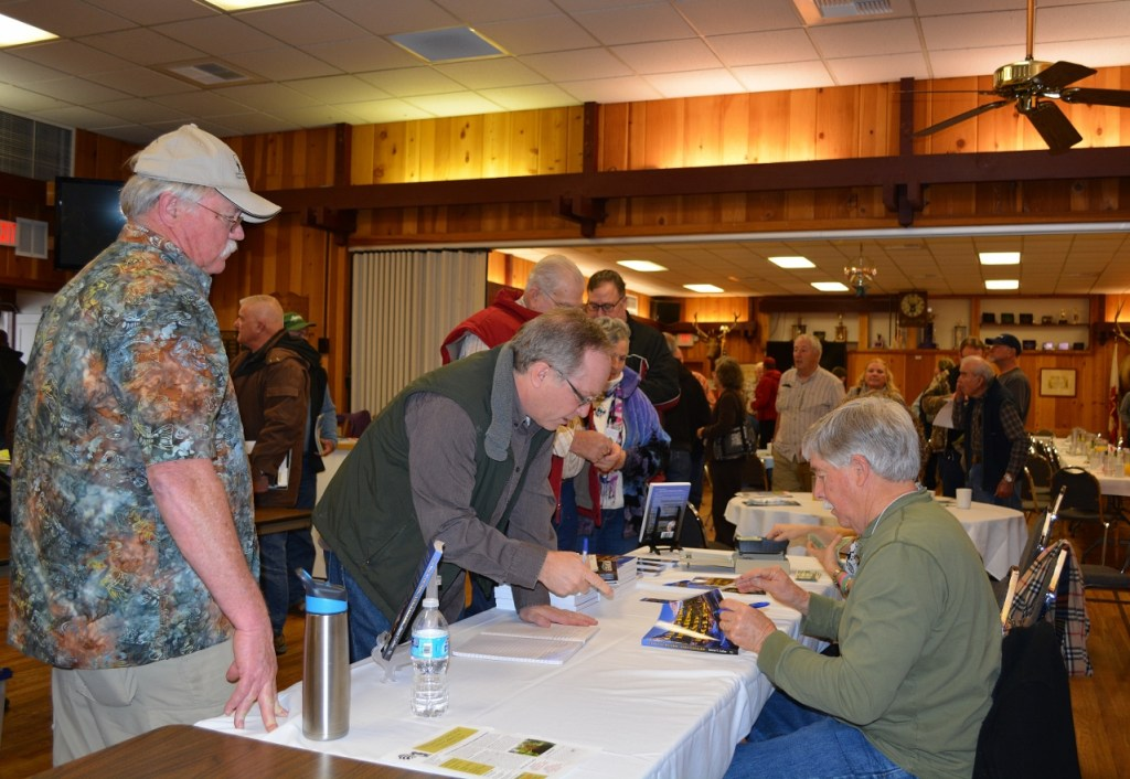 Steven T. Callan signing books for the Rooster Tails Fishing Club of Northern California