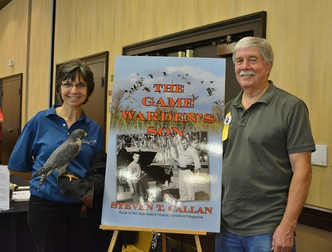 Author Steven T. Callan and friends at a book signing for The Game Warden's Son at the Pacific Flyway Decoy Association Wildfowl Art Festival