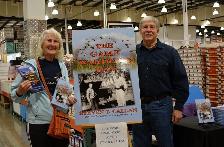Author Steven T. Callan and friend at a book signing for The Game Warden's Son at the Redding Costco Store on February 4, 2017