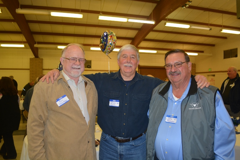 Ron Westaby and John Romano visit with author Steven T. Callan during the Orland Alumni Awards Dinner.