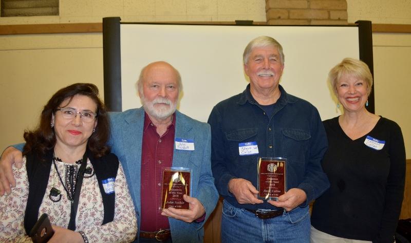 Rocio Nesbitt, author John D. Nesbitt, author Steven T. Callan, and Kathy Callan celebrate at the Orland Alumni Association Awards Dinner.