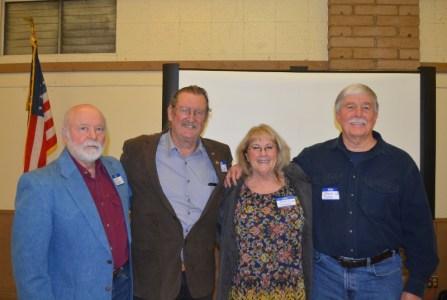 Author John D. Nesbitt, OAA President Larry Donnelley, OAA board member Kerrie Howard, and Author Steven T. Callan at the Orland Alumni Association Awards Dinner.