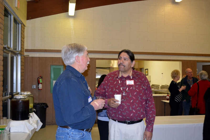 Author Steven T. Callan and Miguel Salas visit at the Orland Alumni Association Awards Dinner.