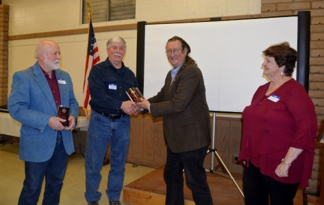 """Authors John D. Nesbitt and Steven T. Callan each receiving the Orland Alumni Association """"Alumnus of the Year"""" award from President Larry Donnelley and Claire Arano."""