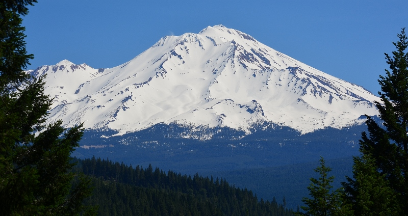 Mount Shasta as it appears from Castle Crags State Park.