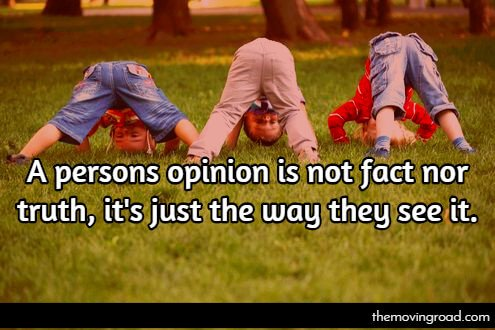 A persons opinion is not fact nor truth, it's just the way they see it.