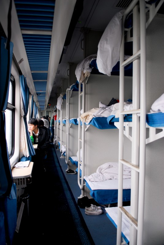 Hard sleepers of an overnight train in China