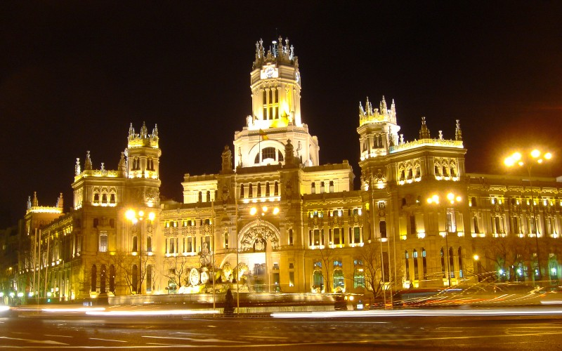 The beautiful Post Office building in Madrid.