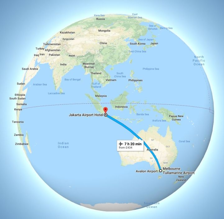 Melbourne airport to Jakarta flight route