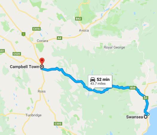 swansea to campbell town