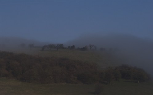 Looking north at the approaching banks of mist