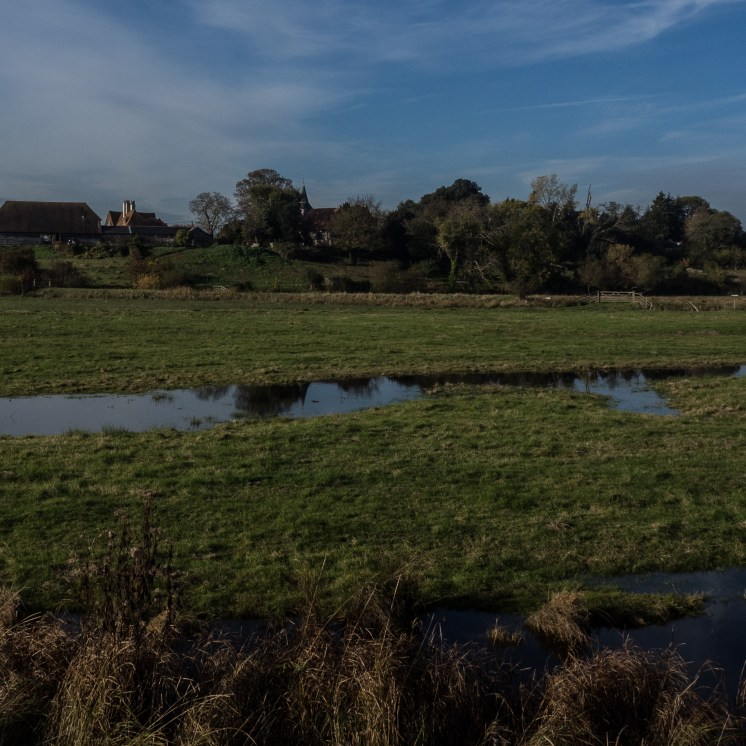 The village of Oare on the ridge above the marshes