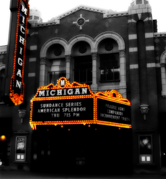 Photo of marquee of the Michigan Theater, Ann Arbor.   2006.