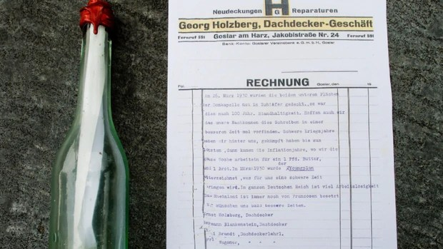 German Roofer Finds Message from Grandfather