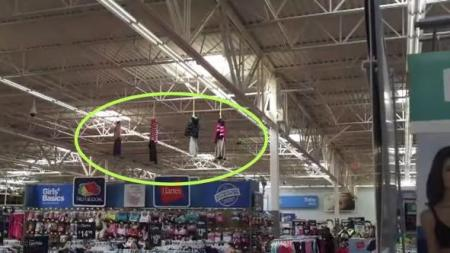Walmart hanging figures from ceiling