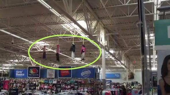 Walmart hanging figures from ceiling