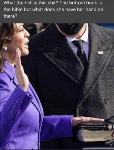 Kamala Harris does not have her hand on the Bible