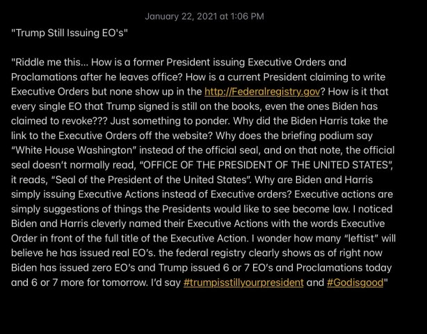 Trump still writing executive orders after January 20, 2021