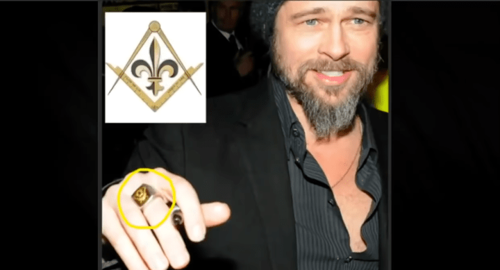 Brad Pitt is a freemason. Brad Pitt with masonic ring. Hollywood actors, politicians, news reporters, famous musicians, authors and other famous people are part of freemasonry; most of them don't even know the truth behind the masonic veil and what the real secrets are. These freemasons do the bidding of high-level freemasons in exchange for fame, fortune and other desires; the sky is the limit if you obey.