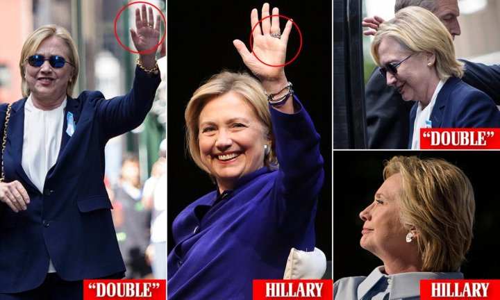 Clones in Congress and government. Hillary Clinton double. After nearly collapsing in public, Hillary Clinton stopped off at her daughter Chelsea's apartment to refresh herself. When she emerged, she reportedly looked like a different person — so much so that some people are speculating that Hillary is using a body double.