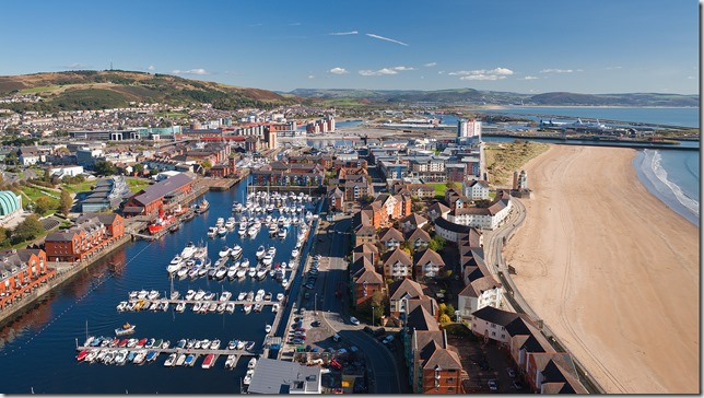 View east along beach from Meridian Quay Tower Maritime Quarter Swansea South Towns And Villages