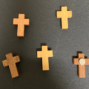 Wooden Cross Magnet, These are small about ½ inch wide by 1 inch tall, handmade, can be put on your fridge or anything metal.
