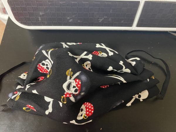 Pirate Face Mask - this face mask has crossbones and skulls on it. #Pirates