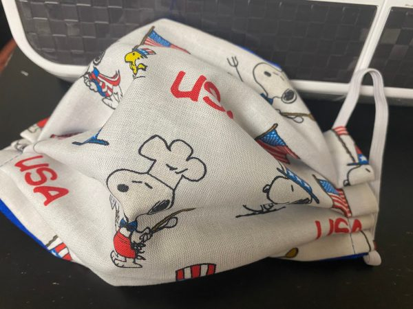 Snoopy & Woodstock USA Face Mask - A patriotic-themed face mask with Snoopy and Woodstock on it with USA on it too. #USA #Snoopy #Woodstock
