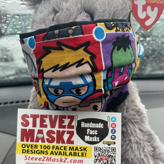 Meet All of the Lovies - These lovies, stuffed animals are the sales people for SteveZ MaskZ. When we go out and about and shopping for fabric and supplies they stay in the car with a business card and promote SteveZ MaskZ. Meet Gandalf