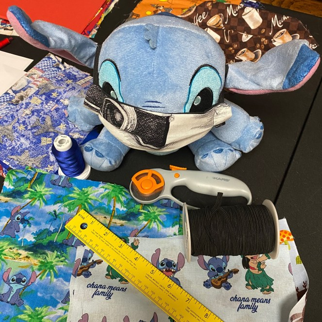 Meet All of the Lovies - These lovies, stuffed animals are the sales people for SteveZ MaskZ. When we go out and about and shopping for fabric and supplies they stay in the car with a business card and promote SteveZ MaskZ. Meet Stitch Aka Experiment 626 who helps sews face masks!