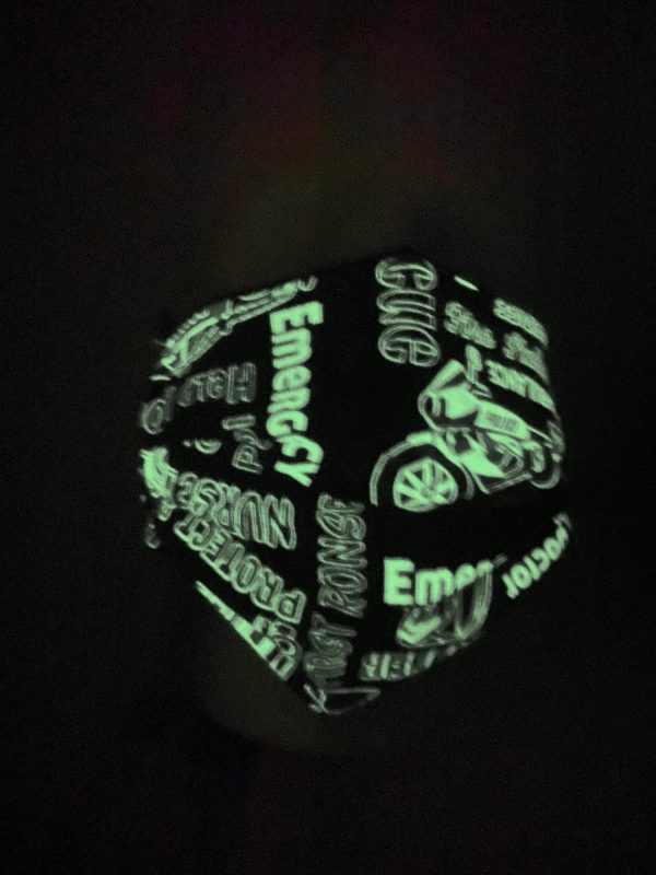 Glow-in-the-Dark Professional Rescuers Face Mask - this glowing mask has all kinds of professional rescuer jobs on it. #glowinthedark #police #fire #paramedic
