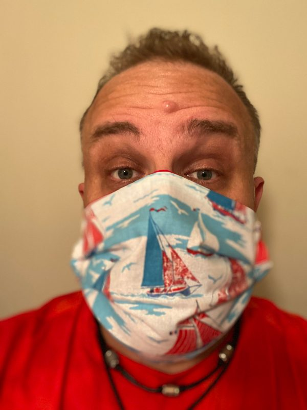 Sailboat Face Mask - This is a red, white and blue face mask with a variety of sailboats on it. #Sailboat