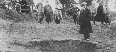 The crater near the church at Snettisham, the explosion of which blew out many of the church's windows