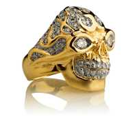 Blazing Bruno Skull Ring :: in Yellow Gold with White ...