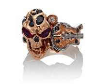 The Rock Star Skull Ring :: Rose Gold, Diamonds, Rubies ...