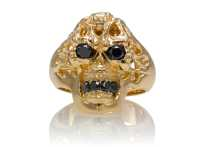 Brainiac Skull Ring :: Yellow Gold with Black Diamonds ...