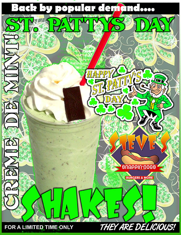 Our March Shake of the  Month is the St. Pattys Day Creme de Mint!