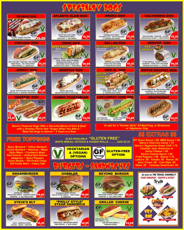 steves snappin dogs hot dog menu