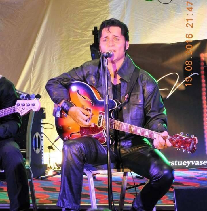 Caboolture RSL. Stuey V as Elvis. Steve Turner accompanying musician and backing singer with Peter Novak on Bass
