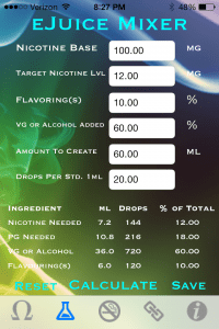 vapor plus review eliquid calculator