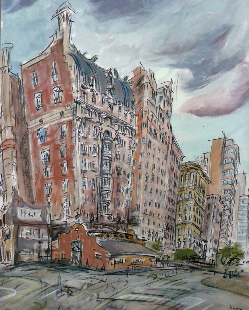 """72nd St. Station,"" china marker w/mixed media on paper, 24""X 18""  2011"
