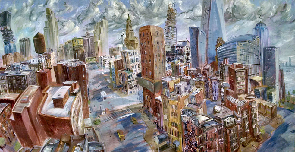 """Downtown,"" oil on canvas, 96""X 48"" 2014"